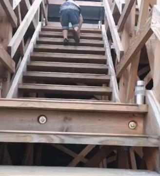 木の階段をのぼる子供